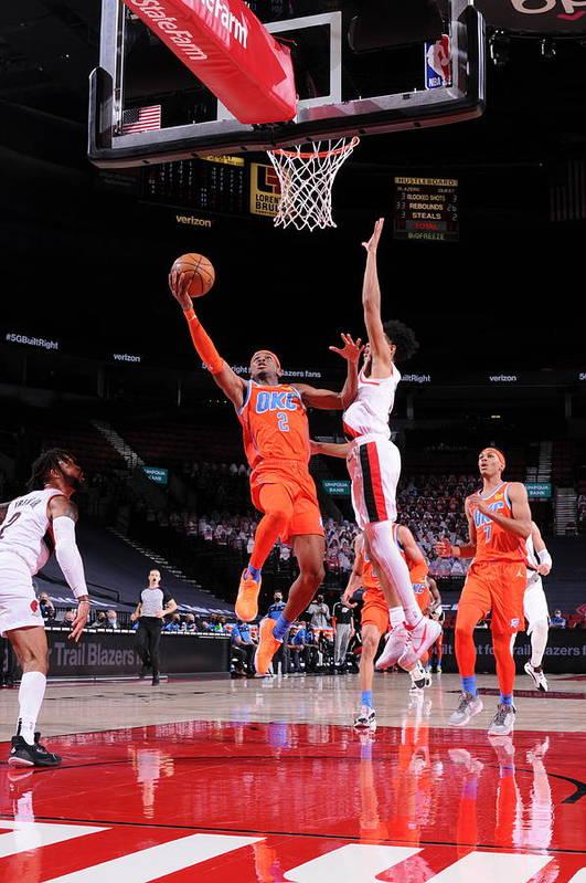 Nba Pro Basketball Art Print featuring the photograph Oklahoma City Thunder v Portland Trail Blazers by Sam Forencich