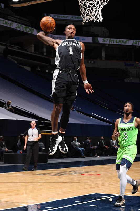 Nba Pro Basketball Art Print featuring the photograph San Antonio Spurs v Minnesota Timberwolves by David Sherman