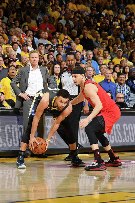 Playoffs Art Print featuring the photograph Stephen Curry and Seth Curry by Noah Graham