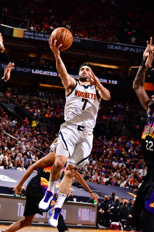 Playoffs Art Print featuring the photograph 2021 NBA Playoffs - Denver Nuggets v Phoenix Suns by Barry Gossage