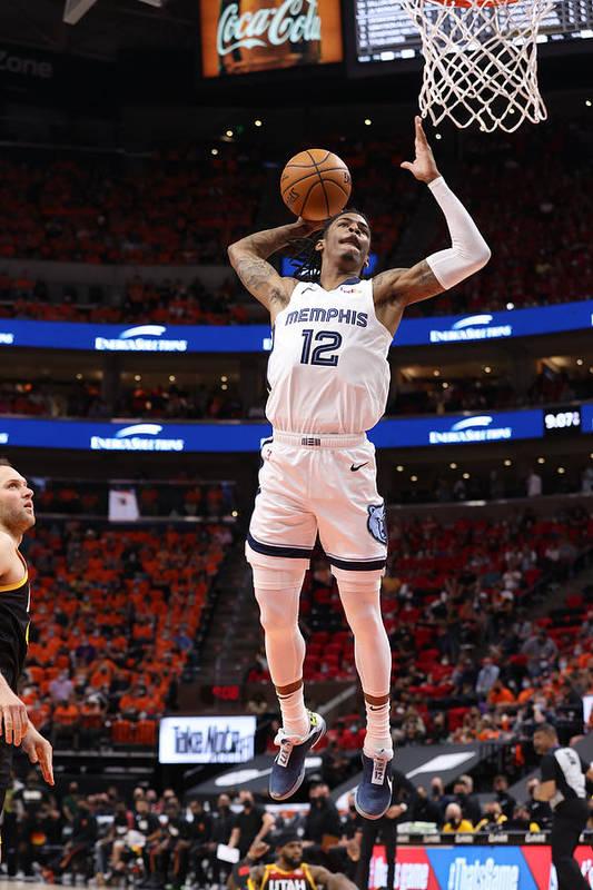 Playoffs Art Print featuring the photograph 2021 NBA Playoffs - Memphis Grizzlies v Utah Jazz by Joe Murphy