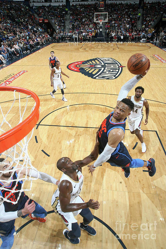 Smoothie King Center Art Print featuring the photograph Russell Westbrook by Layne Murdoch