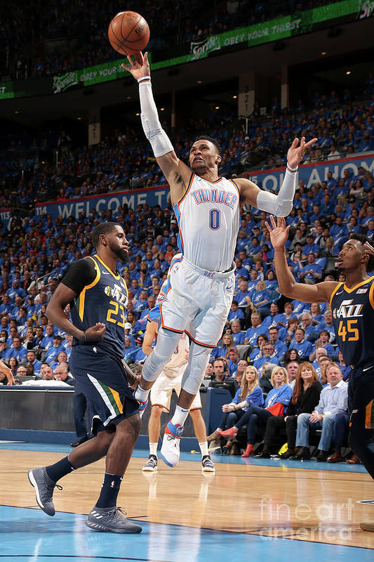 Playoffs Art Print featuring the photograph Russell Westbrook by Layne Murdoch