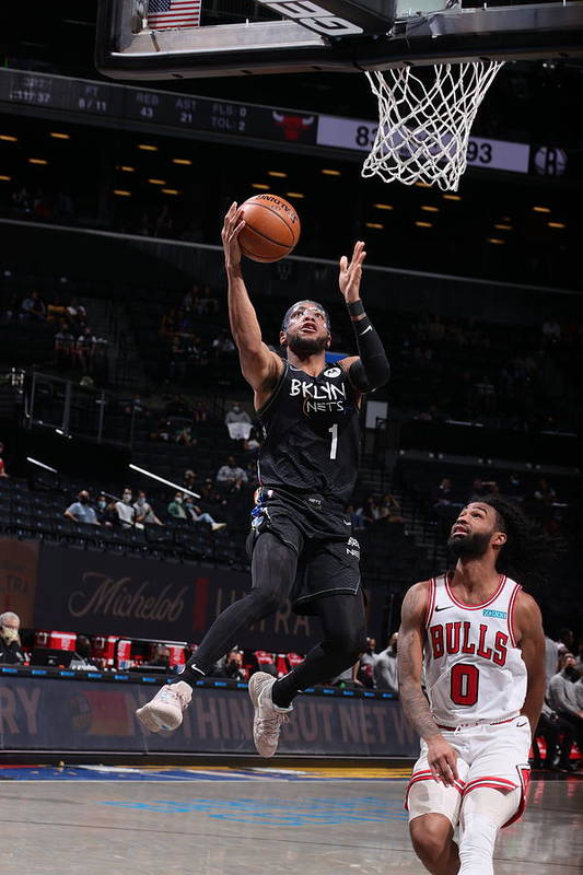 Nba Pro Basketball Art Print featuring the photograph Chicago Bulls v Brooklyn Nets by Nathaniel S. Butler