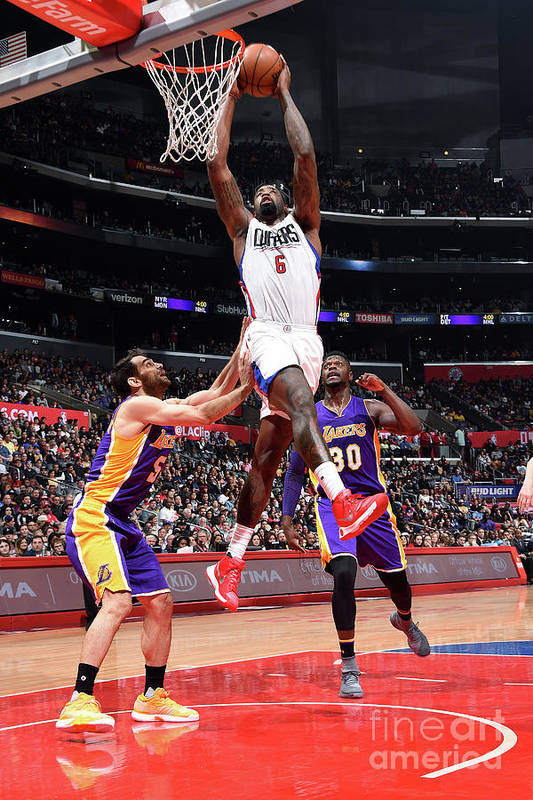 Nba Pro Basketball Art Print featuring the photograph Deandre Jordan by Andrew D. Bernstein