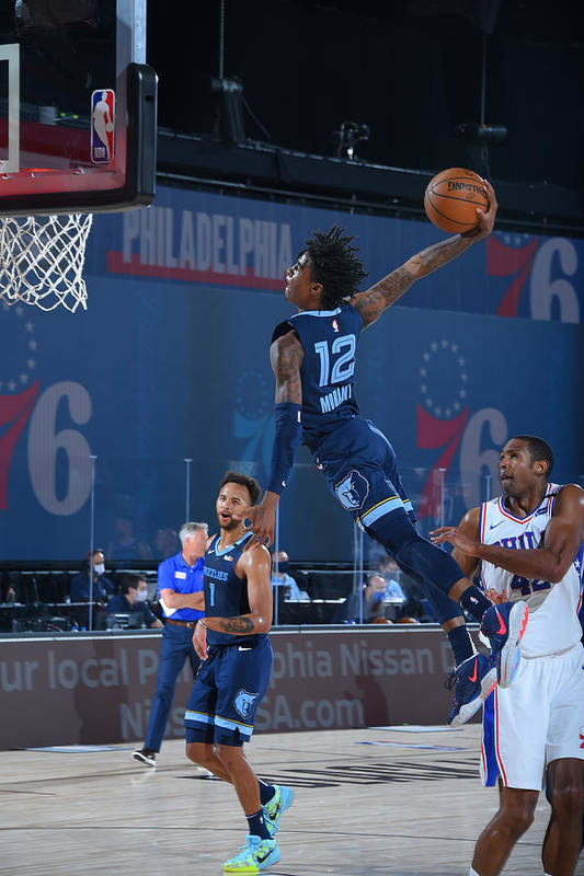 Nba Pro Basketball Art Print featuring the photograph Memphis Grizzlies v Philadelphia 76ers by Bill Baptist