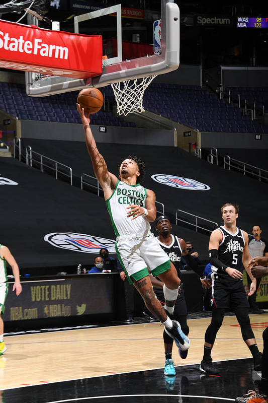 Nba Pro Basketball Art Print featuring the photograph Boston Celtics v LA Clippers by Adam Pantozzi