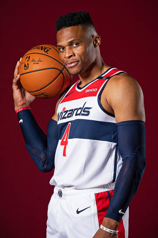 Media Day Art Print featuring the photograph Russell Westbrook by Stephen Gosling