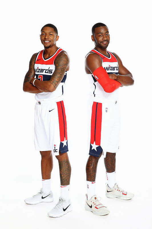 Media Day Art Print featuring the photograph John Wall and Bradley Beal by Ned Dishman