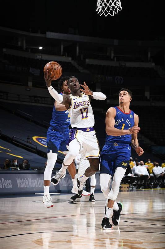 Nba Pro Basketball Art Print featuring the photograph Los Angeles Lakers v Denver Nuggets by Garrett Ellwood