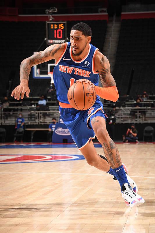Nba Pro Basketball Art Print featuring the photograph New York Knicks v Detroit Pistons by Chris Schwegler