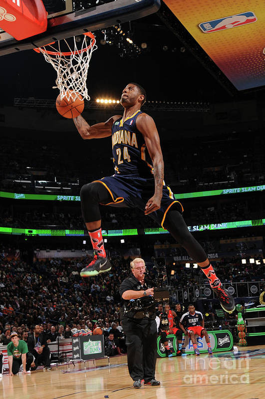 Smoothie King Center Art Print featuring the photograph Paul George by Andrew D. Bernstein
