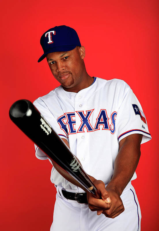 Media Day Art Print featuring the photograph Adrian Beltre by Jamie Squire