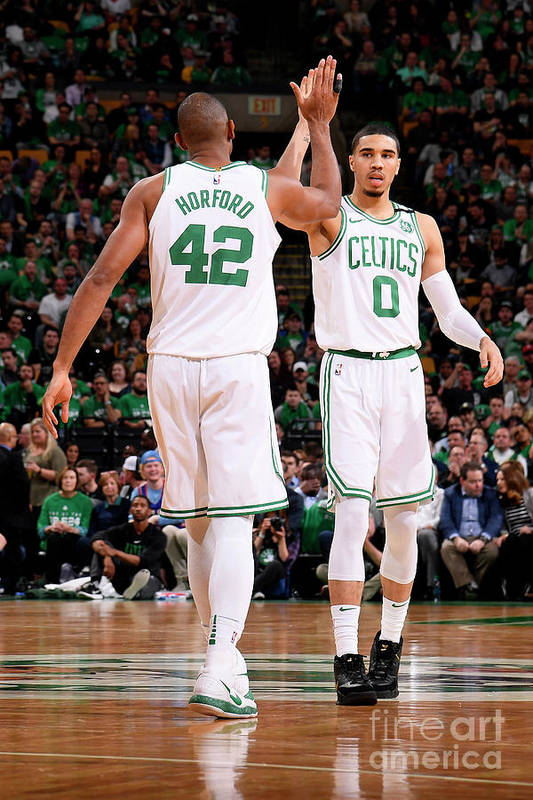 Playoffs Art Print featuring the photograph Al Horford and Jayson Tatum by Brian Babineau
