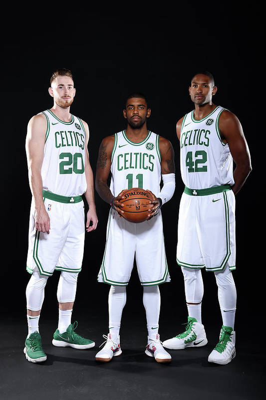 Media Day Art Print featuring the photograph Al Horford, Kyrie Irving, and Gordon Hayward by Brian Babineau