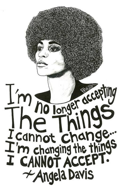 Pen And Ink Illustration Art Print featuring the drawing Angela Davis Drawing by Rick Frausto