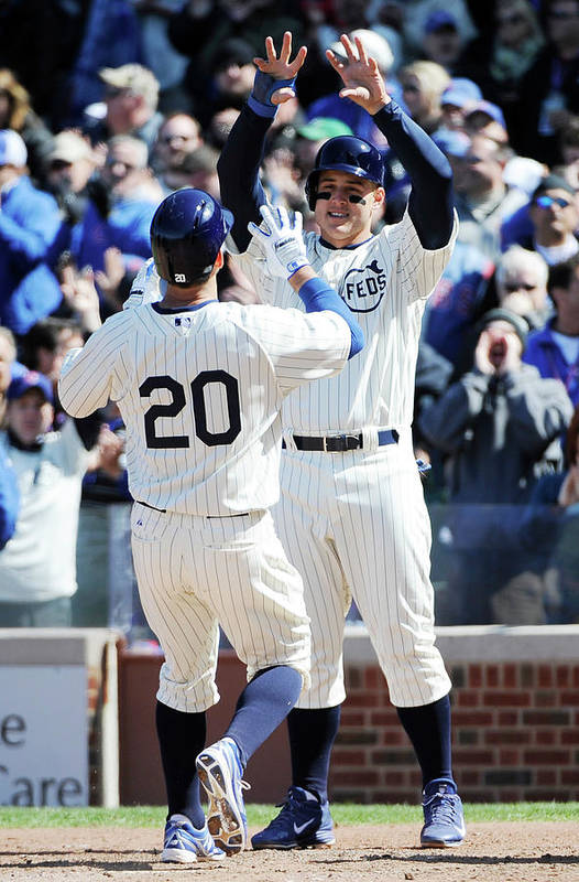 National League Baseball Art Print featuring the photograph Anthony Rizzo and Justin Ruggiano by David Banks