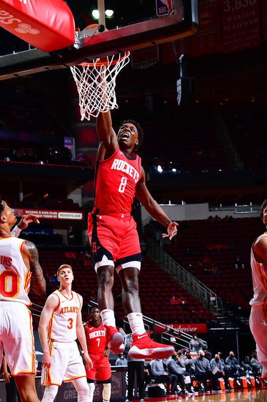 Nba Pro Basketball Art Print featuring the photograph Atlanta Hawks v Houston Rockets by Cato Cataldo