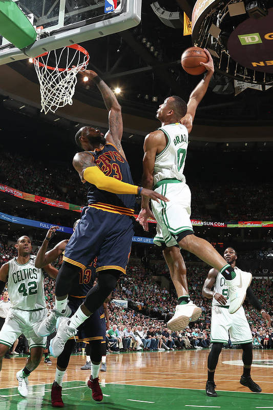 Playoffs Art Print featuring the photograph Avery Bradley and Lebron James by Nathaniel S. Butler