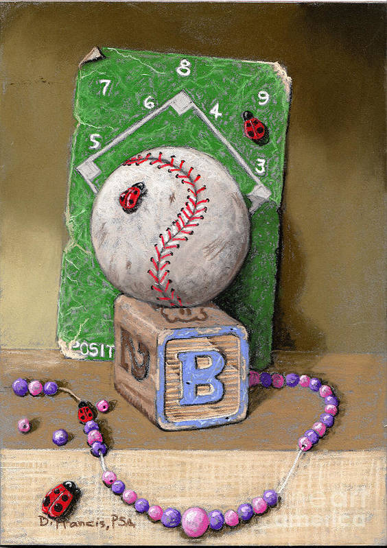 Still Life Art Print featuring the painting B is for Beads Bugs and a Ball for the Bases by David Francis