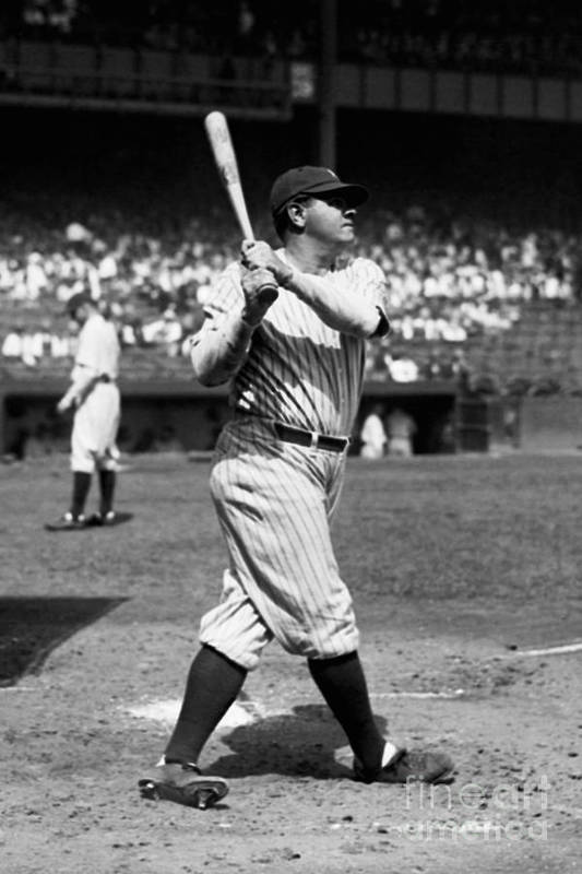 American League Baseball Art Print featuring the photograph Babe Ruth by Kidwiler Collection