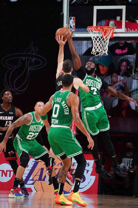 Playoffs Art Print featuring the photograph Boston Celtics v Miami Heat - Game Three by Jesse D. Garrabrant