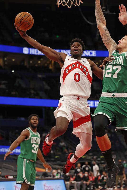 Nba Pro Basketball Art Print featuring the photograph Boston Celtics v Toronto Raptors by Scott Audette