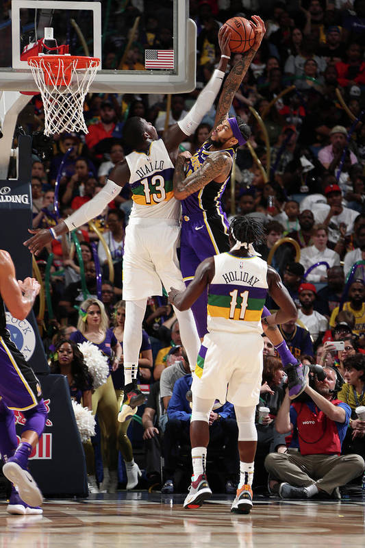 Smoothie King Center Art Print featuring the photograph Brandon Ingram and Cheick Diallo by Nathaniel S. Butler