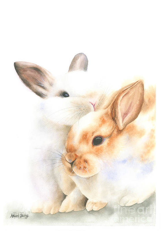 Bunny Couple Watercolor by Hwi Jung