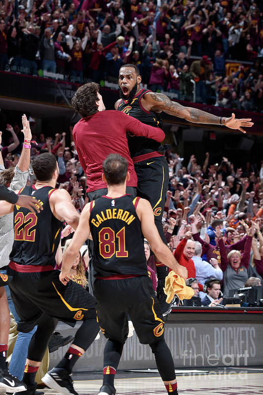 Playoffs Art Print featuring the photograph Cedi Osman and Lebron James by David Liam Kyle