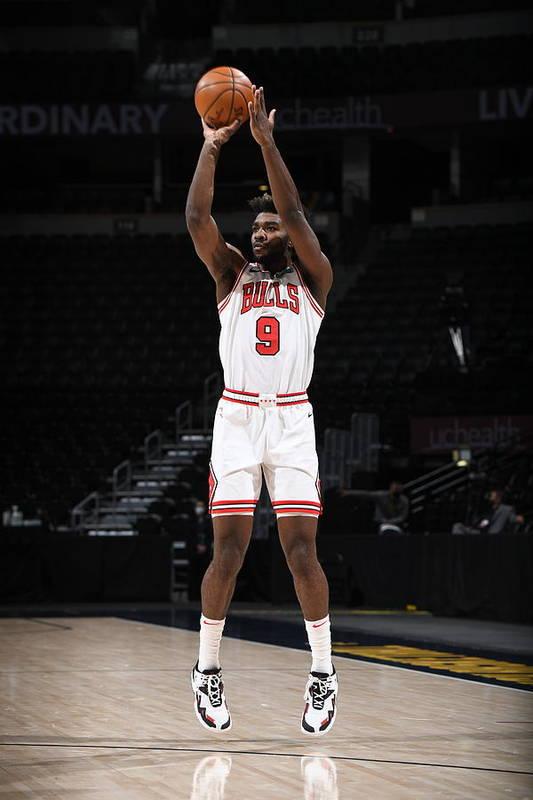 Nba Pro Basketball Art Print featuring the photograph Chicago Bulls v Denver Nuggets by Garrett Ellwood