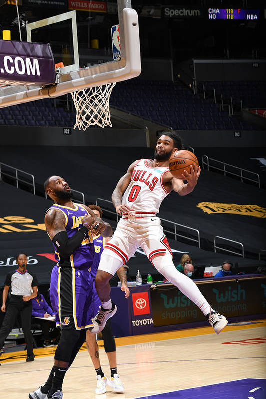 Coby White Art Print featuring the photograph Chicago Bulls v LA Lakers by Adam Pantozzi