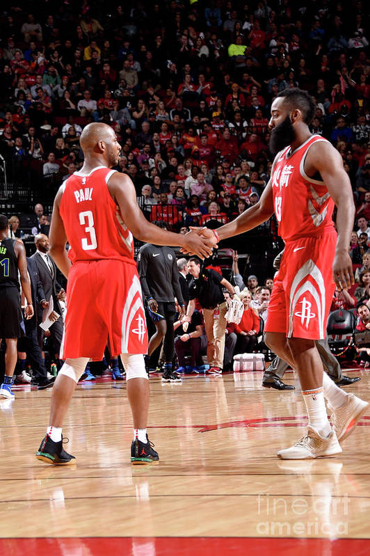 Nba Pro Basketball Art Print featuring the photograph Chris Paul and James Harden by Bill Baptist