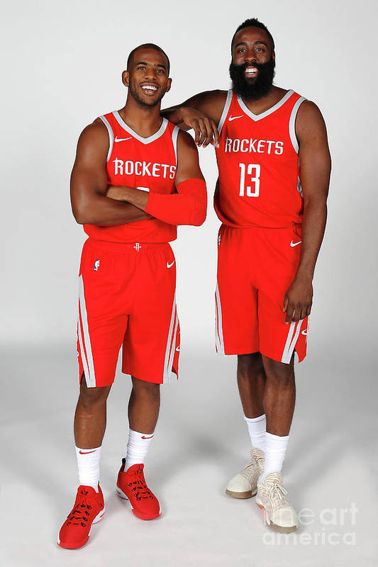 Media Day Art Print featuring the photograph Chris Paul and James Harden by Nba Photos