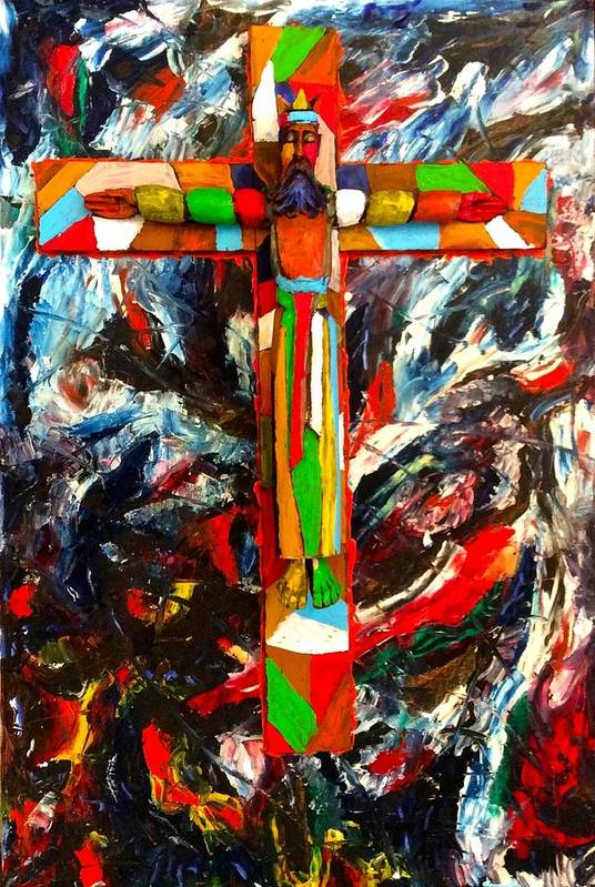 Crucifixion Art Print featuring the mixed media Crucifixion by Biagio Civale