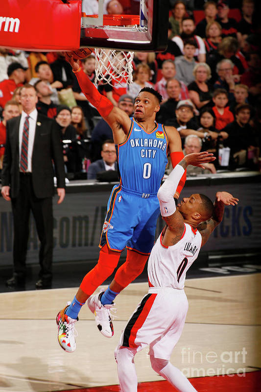 Playoffs Art Print featuring the photograph Damian Lillard and Russell Westbrook by Cameron Browne