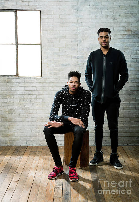 Nba Pro Basketball Art Print featuring the photograph D'angelo Russell and Brandon Ingram by Nathaniel S. Butler