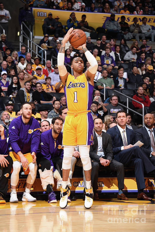 Nba Pro Basketball Art Print featuring the photograph D'angelo Russell by Andrew D. Bernstein