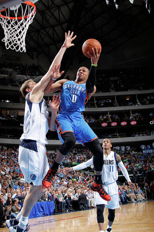 Nba Pro Basketball Art Print featuring the photograph Dirk Nowitzki and Russell Westbrook by Glenn James