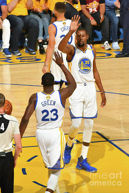 Playoffs Art Print featuring the photograph Draymond Green and Kevin Durant by Jesse D. Garrabrant