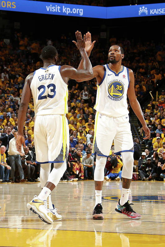 Playoffs Art Print featuring the photograph Draymond Green and Kevin Durant by Nathaniel S. Butler