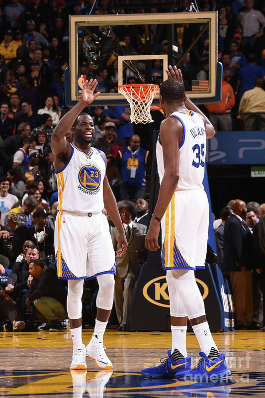 Nba Pro Basketball Art Print featuring the photograph Draymond Green and Kevin Durant by Noah Graham