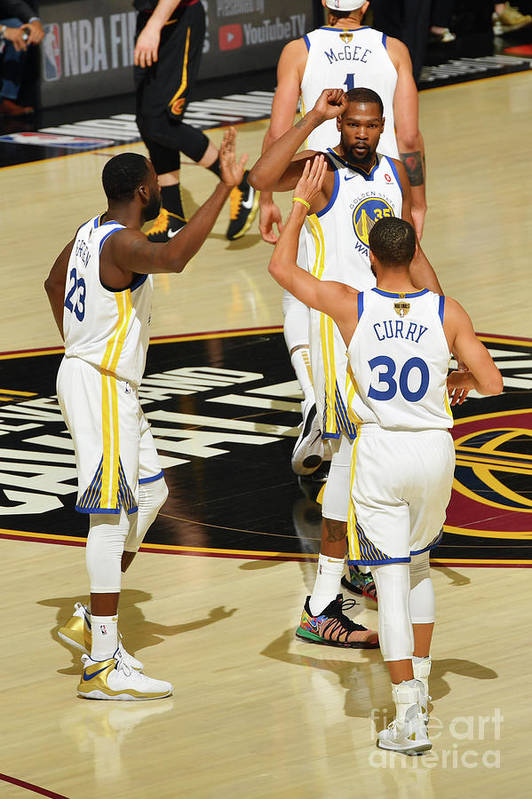 Playoffs Art Print featuring the photograph Draymond Green, Stephen Curry, and Kevin Durant by Jesse D. Garrabrant