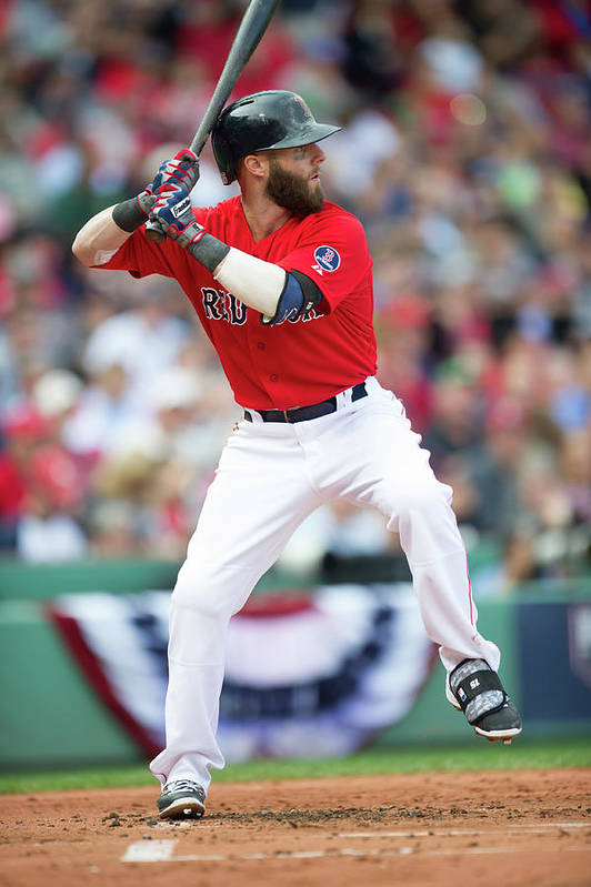 Playoffs Art Print featuring the photograph Dustin Pedroia by Rob Tringali