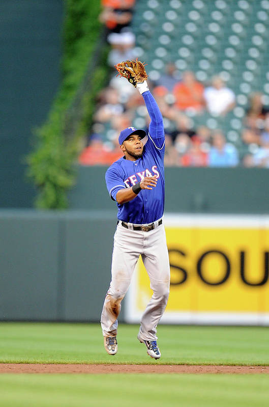 Second Inning Art Print featuring the photograph Elvis Andrus and Ryan Flaherty by Greg Fiume