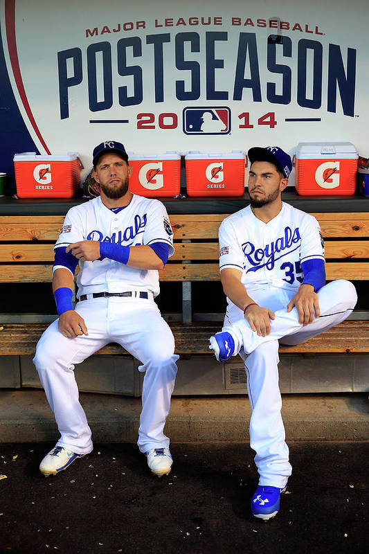 American League Baseball Art Print featuring the photograph Eric Hosmer And Alex Gordon by Jamie Squire