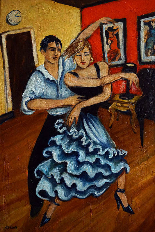 Dancers Art Print featuring the painting Flamenco by Valerie Vescovi