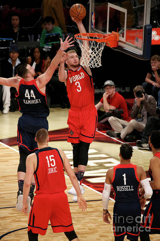 Smoothie King Center Art Print featuring the photograph Frank Kaminsky and Domantas Sabonis by Gary Dineen
