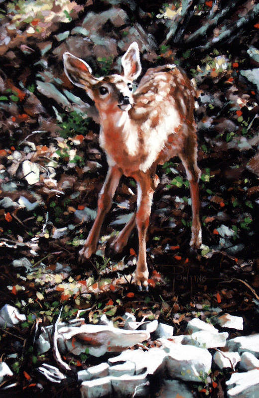 Deer Art Print featuring the painting Garden Ornament by Dianna Ponting