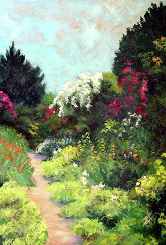 Landscape Art Print featuring the painting Garden Path Giverney by Diane Martens